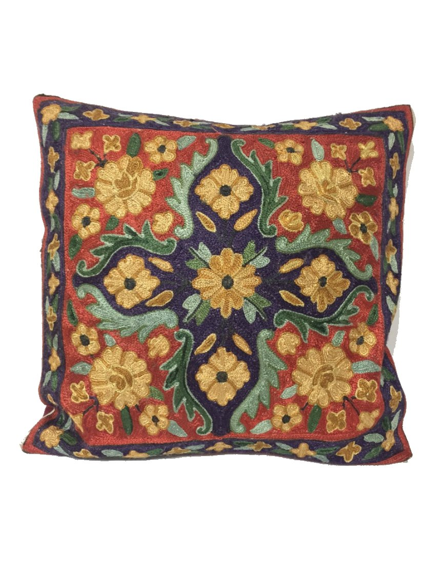 Silk Thread Embroidered Cushion Covers_Pattern A