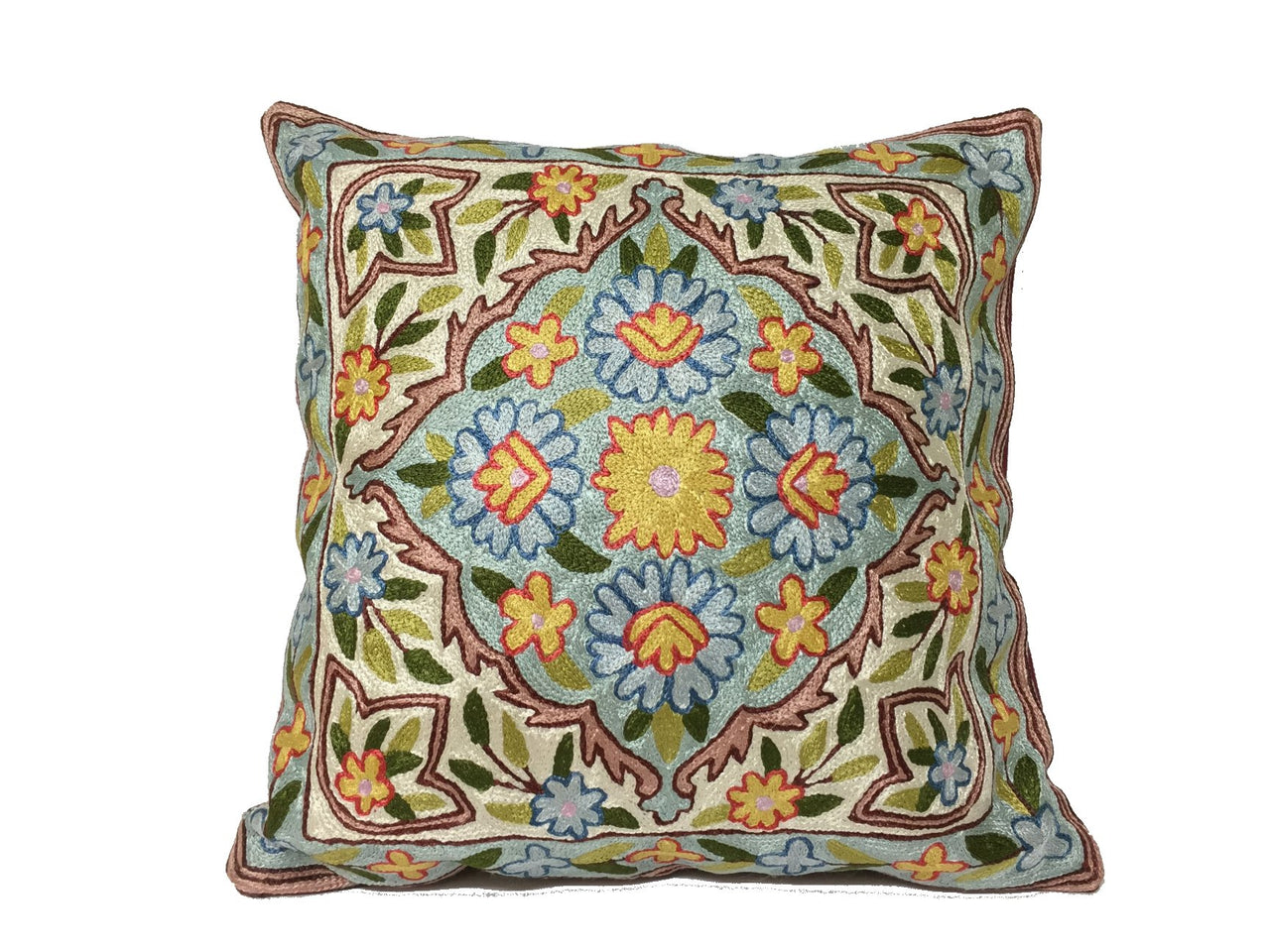 Silk Thread Embroidered Cushion Covers - Pattern B