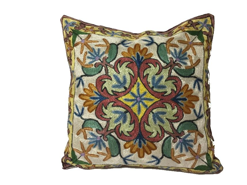 Silk Thread Embroidered Cushion Covers - Pattern C