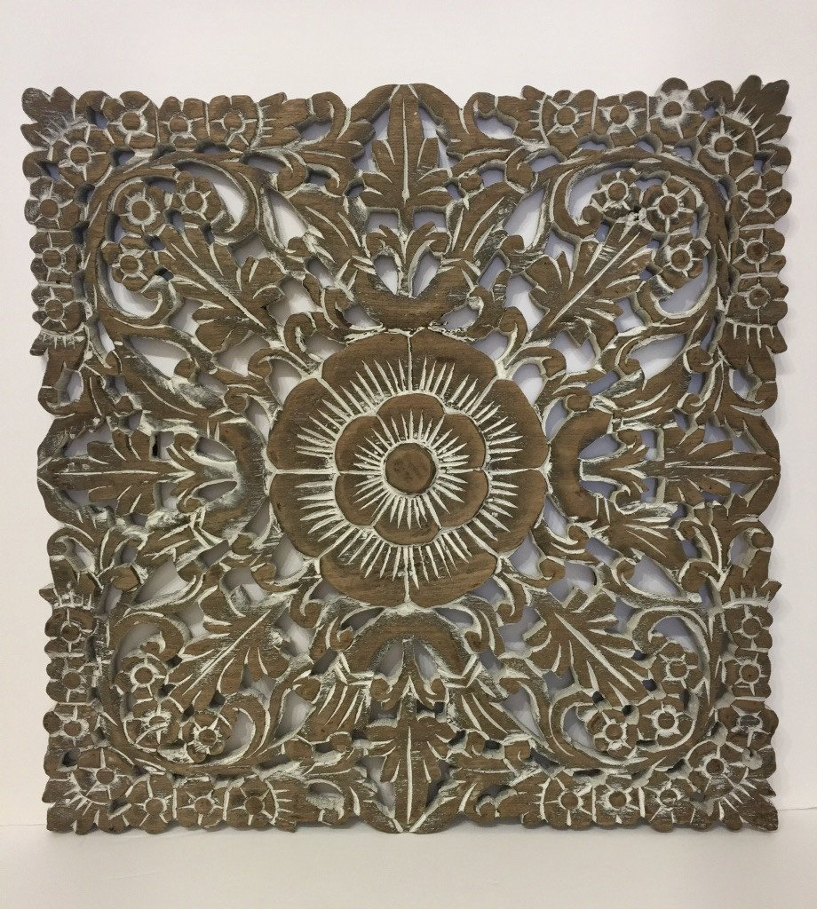 Hand carved Square Shape Wooden Panels Thailand - Maison Fusion