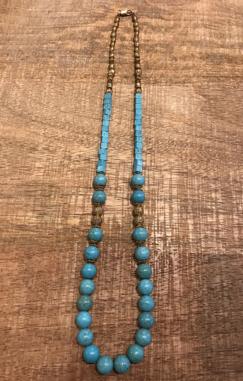 Long Turquoise & brass beads necklace -design 1 - Maison Fusion