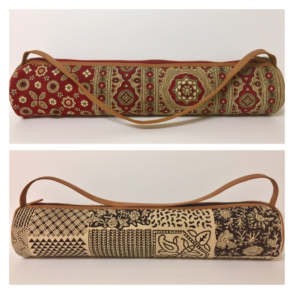Yoga Mat Bag with Large Inside Pocket Hand Block Printed Cotton