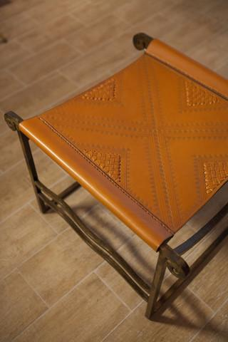 Wrought Iron & Braided Genuine Leather Square Stool Tan Colour - Maison Fusion