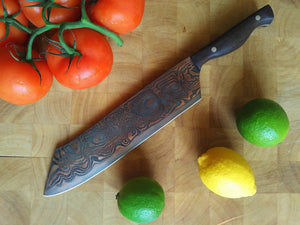 SOLD - Custom Cleaver with Copper etched San Mai Damascus Steel Blade