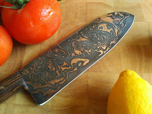 SOLD - Custom Santoku with Copper etched San Mai Damascus Steel Blade