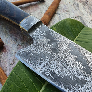 Mosaic Damascus Chef's Knife with Integral Bolster