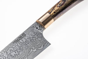 Custom Santoku with San Mai Damascus Steel Blade