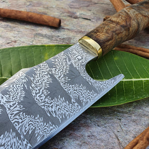 Mosaic Damascus Chef's Knife with Maple Burl Handle