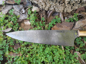 Custom Chef's Knife with San Mai Damascus Steel Blade