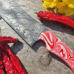 Red & White Swirl Santoku