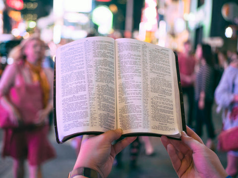 Reading The Bible on the street
