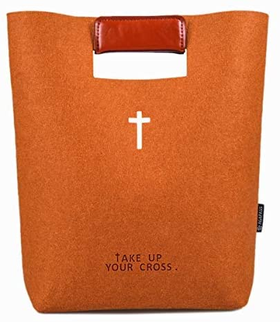 Brown tote with Christian symbols