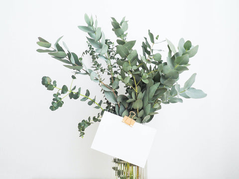 Bouquet of greenery with gift tag