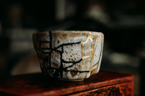 Broken cup mended with gold