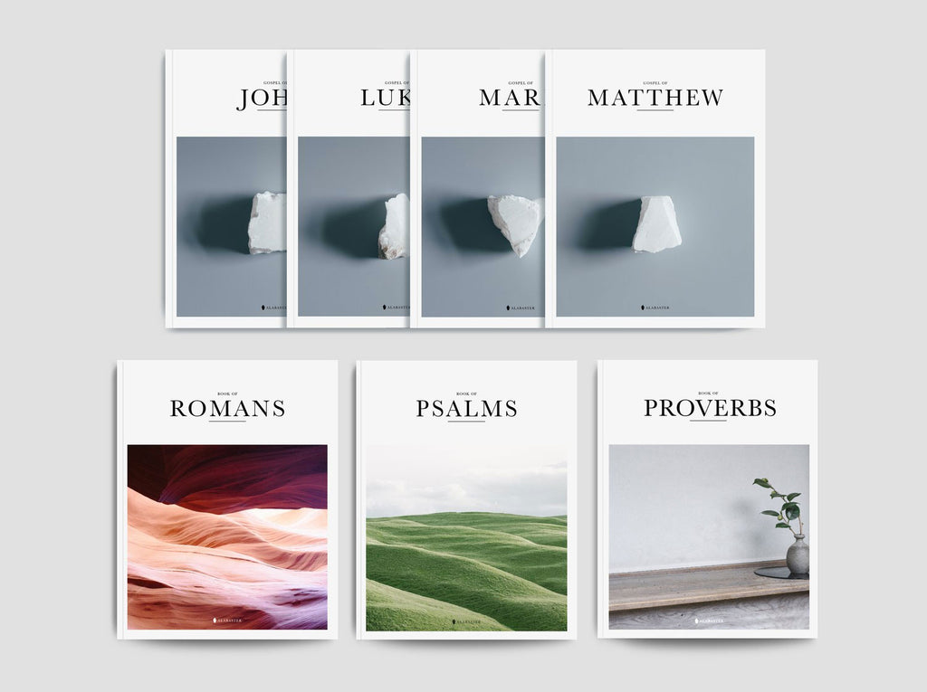 Gospels Set, Psalms, Romans, & Proverbs (Softcover) | Alabaster Bible | Alabaster Co