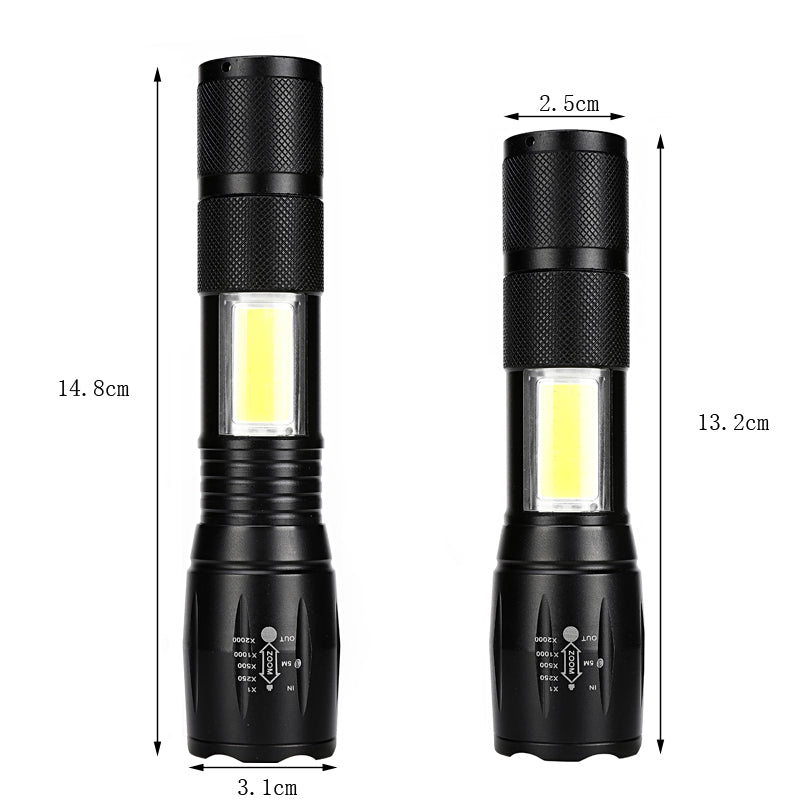 New Tactical Elite Flashlight with COB LED Zoom 4 Modes