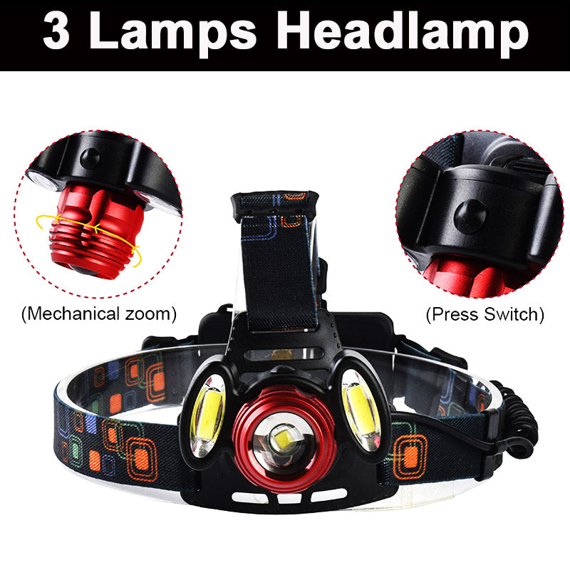Rechargeable Waterproof Headlamps Flashlight