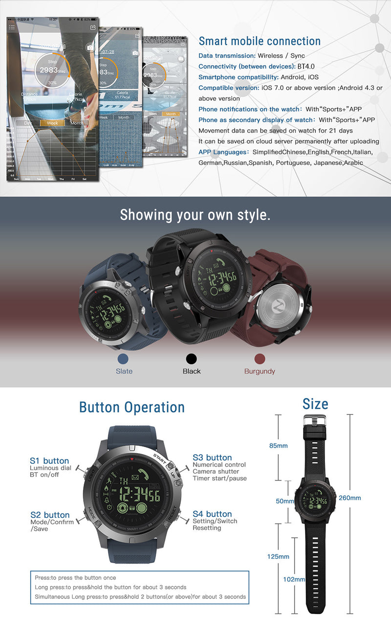 Tactical Smart Watch for IOS & Android