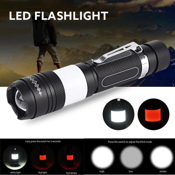 Tactical Elite Rechargeable Compact Mini Flashlight with COB LED Lantern Flash Light Zoom 6 Modes