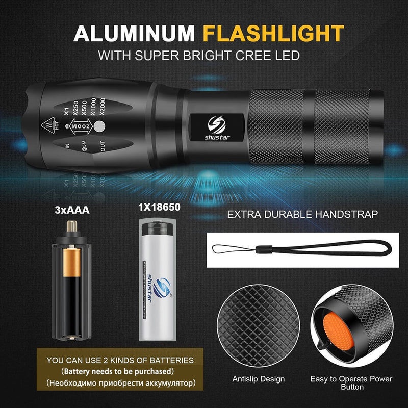 Led flashlight Ultra Bright torch T6/L2/V6