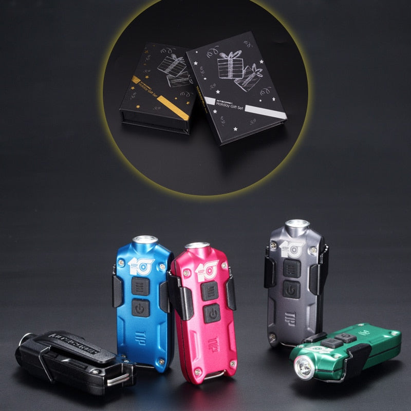 Gift Set TIP Metal Micro USB Rechargeable Key Button Light + Clip mini EDC small Flashlight