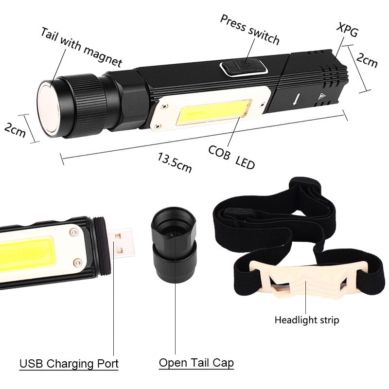 USB Rechargeable Tactical Flashlight Magnet 90 Degree