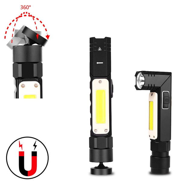 USB Rechargeable Tactical Flashlight Magnet 90 Degree Rotary Clip Waterproof COB Work Light Handheld Torch with Headlight Strap