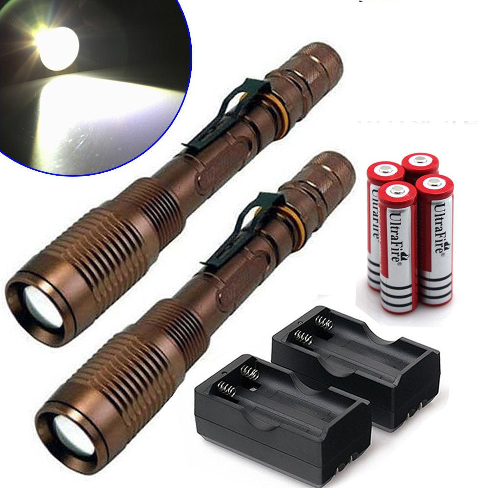 Tactical Flashlight 8000 Lumen CREE T6 LED  5 Mode Torch + 18650 Battery + Charger Get 2 for Only $29.95