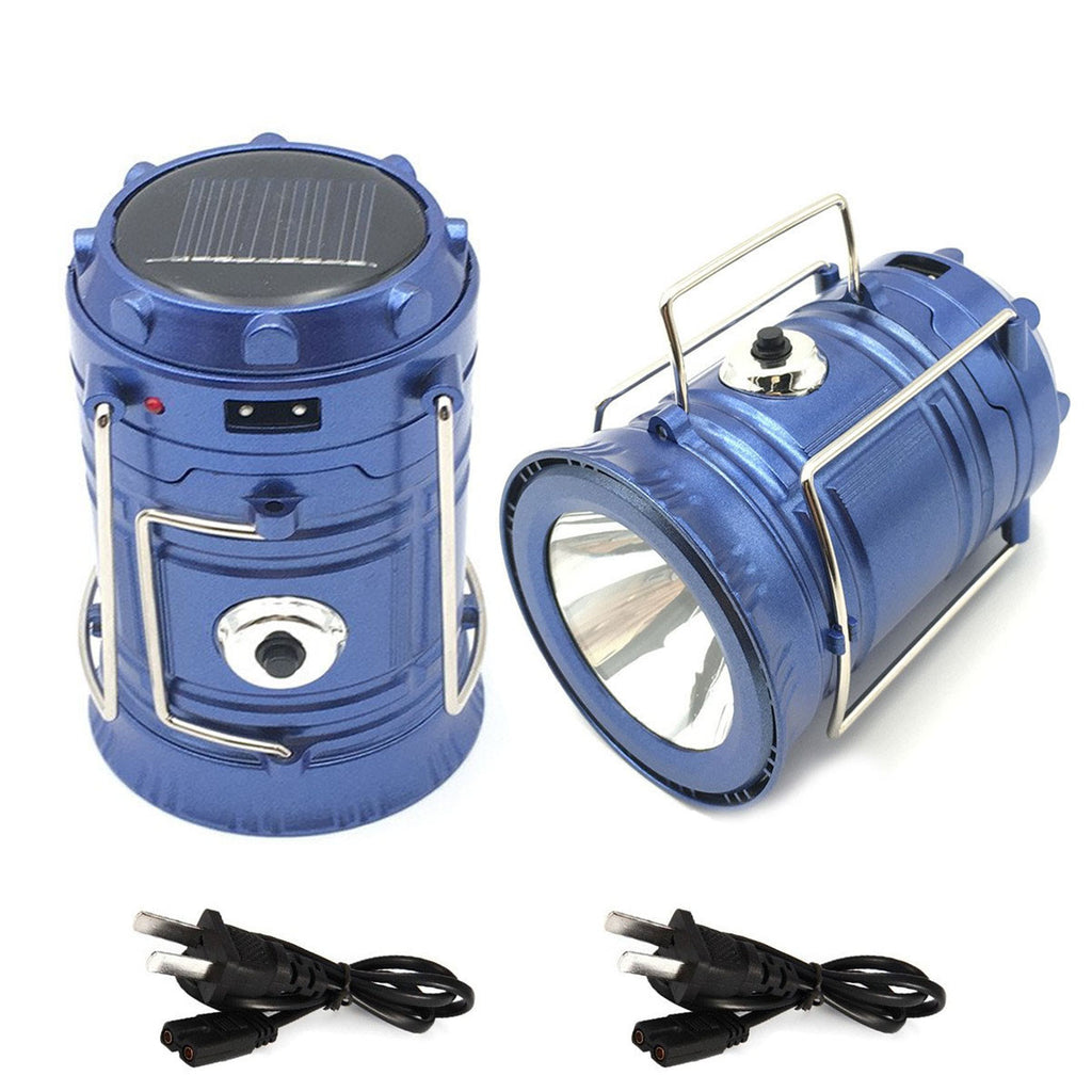 Solar Powered Rechargeable LED Tactical Flashlight Lantern Combo For Hiking Camping or Power Outages - Get 2 for Only $29.95