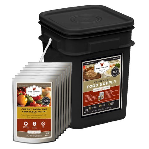 Wise Foods Emergency Survival Food Storage Black Bucket Entree Kit 60 Servings