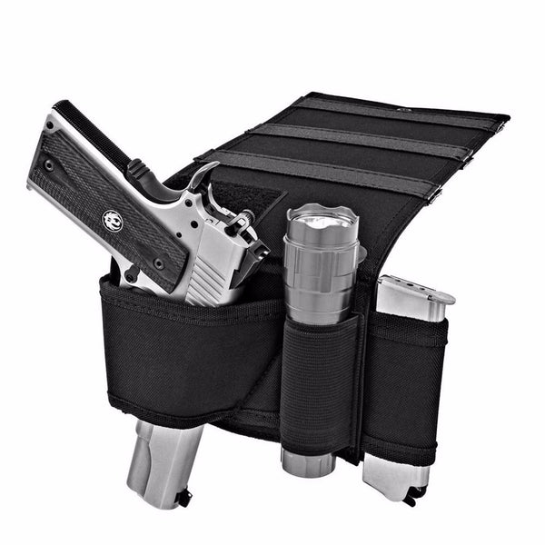 Under Mattress  Bedside Handgun Holster Adjustable with Flashlight and Magazine Loops -Fits Most Handguns