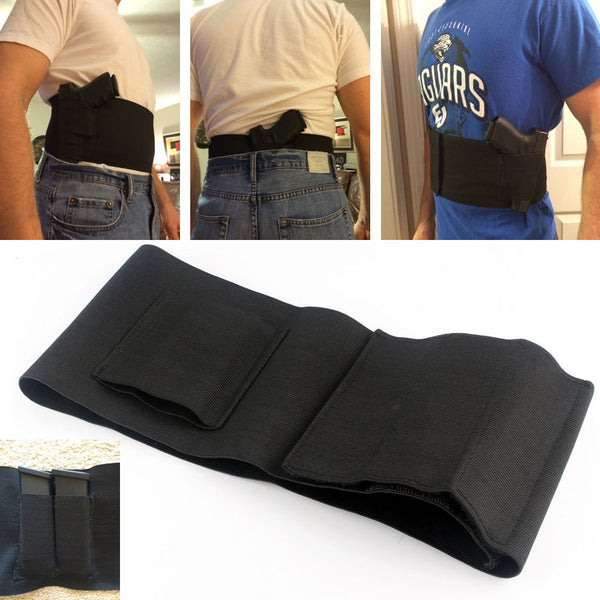 Adjustable Waist Belly Band Holster With Double Magazine Pouches