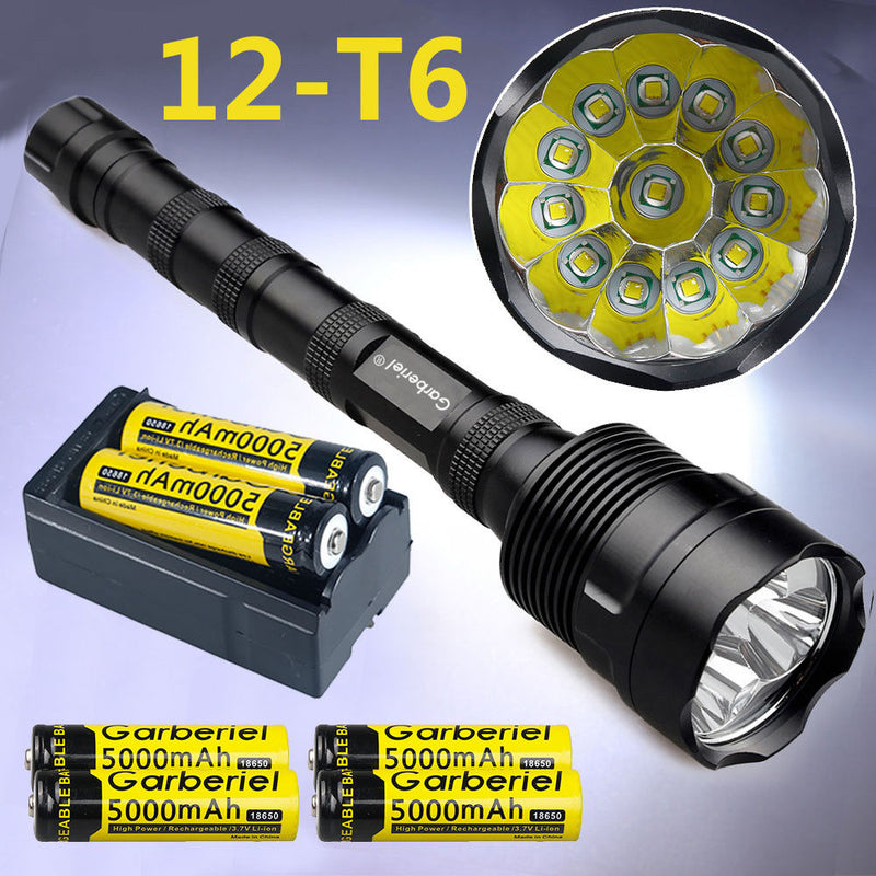 Super Bright Tactical CREE XML 12x T6 LED Flashlight + 3x 18650 Battery+ Charger