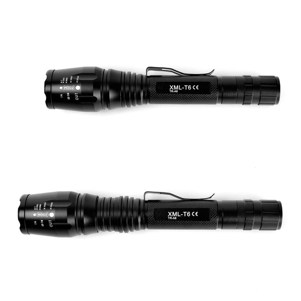 Police Military 1200 Lumen Tactical 5 Mode LED Flashlight w Batteries and Chargers- Get 2 for Only $29.95