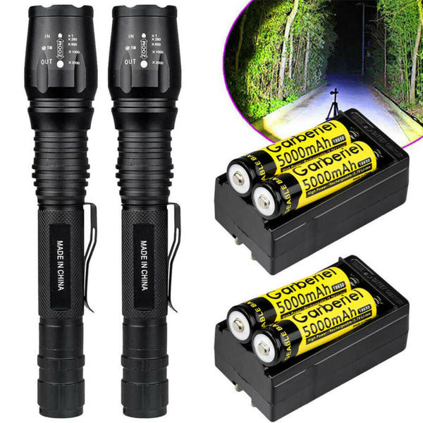 2 x Tactical 1500 Lumens 5 Modes T6 LED Flashlight +18650 Battery+ Charger