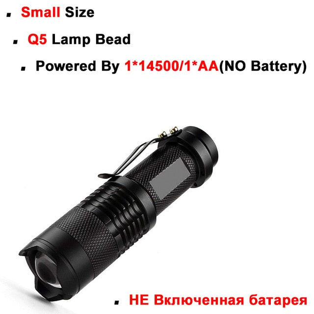 Mini LED Zoomable Flashlight Portable