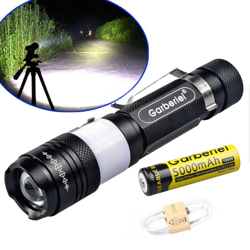 Ultrabright LED T6 Zoomable USB Rechargeable Flashlight Torch +18650 + Charger