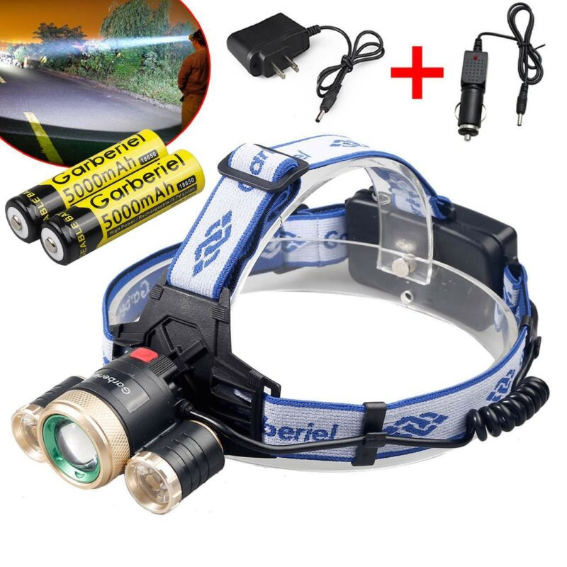 Zoomable Headlamp 3x T6 LED Headlight Head Light 18650 Flashlight Torch