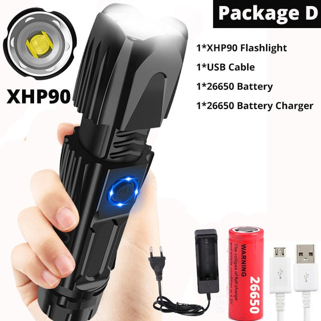 Brightest xhp70.2 High Powerful Rechargeable LED Flashlight