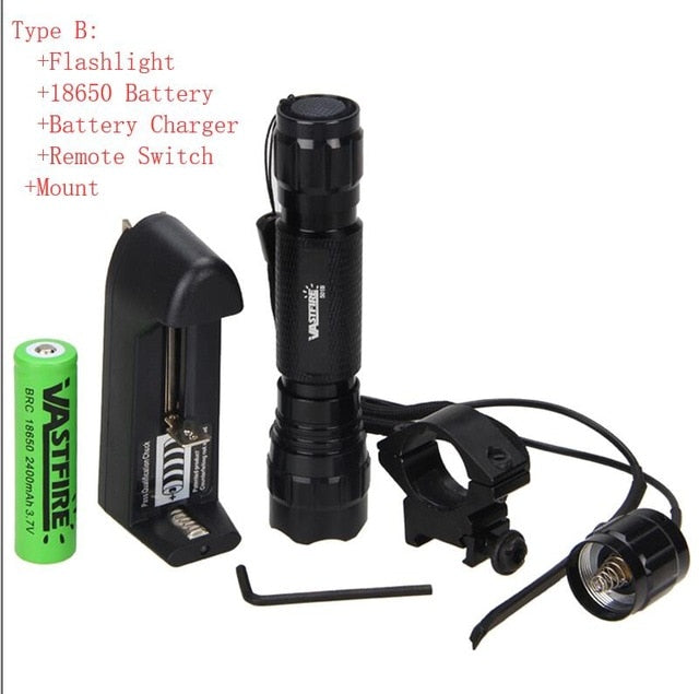 Led Tactical Flashlight+Optional Rechargeable 18650 Battery & Charger