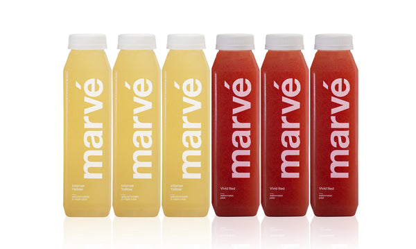 Marve cold pressed juice box of 3 Vivid Red and 3 Intense Yellow juices