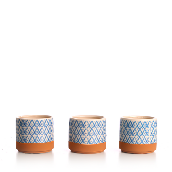 Blue Patterned Ceramic Pots (Pack of 3)