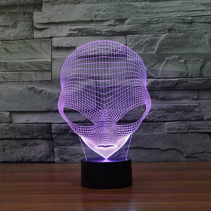 3D Alien Head LED Table Lamp (USB Power)
