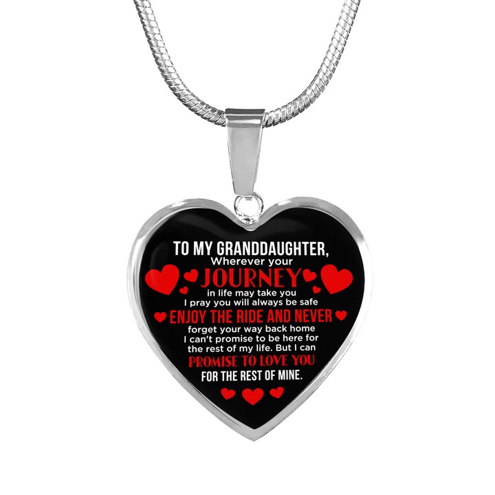 To Granddaughter - Wherever Your Journey Takes You - Heart Necklace