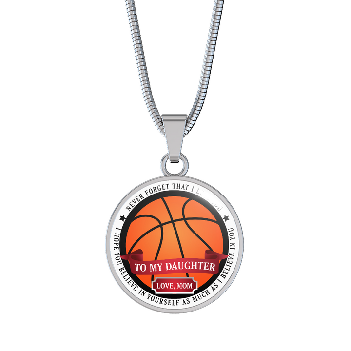 To Daughter.. Love, Mom (Basketball) Necklace