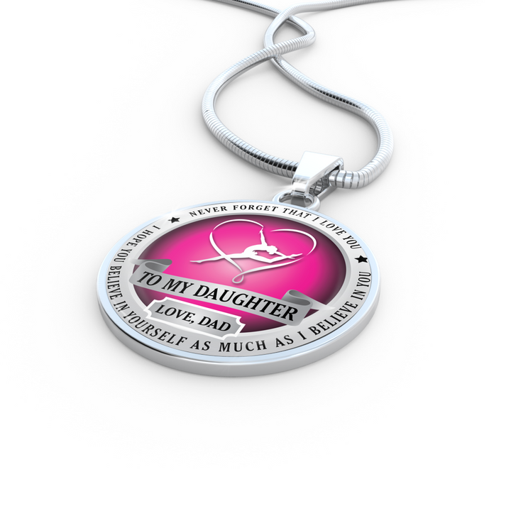 TO DAUGHTER.. LOVE, DAD (GYMNASTICS) NECKLACE