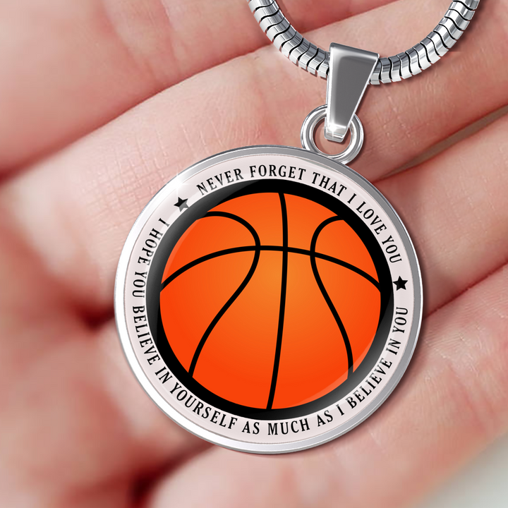 Believe in Yourself Basketball Necklace