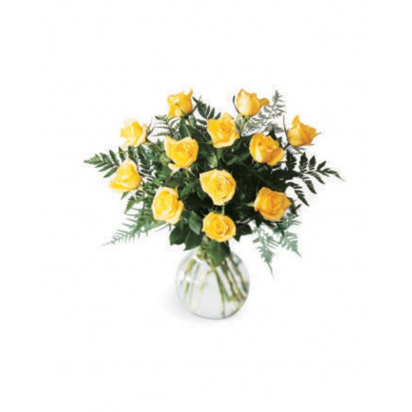 E10 12 Yellow Roses Arrangement