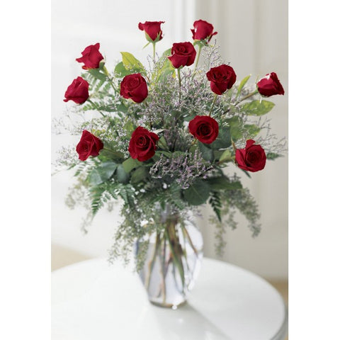 E7 Dozen Premium Red Rose Arrangement
