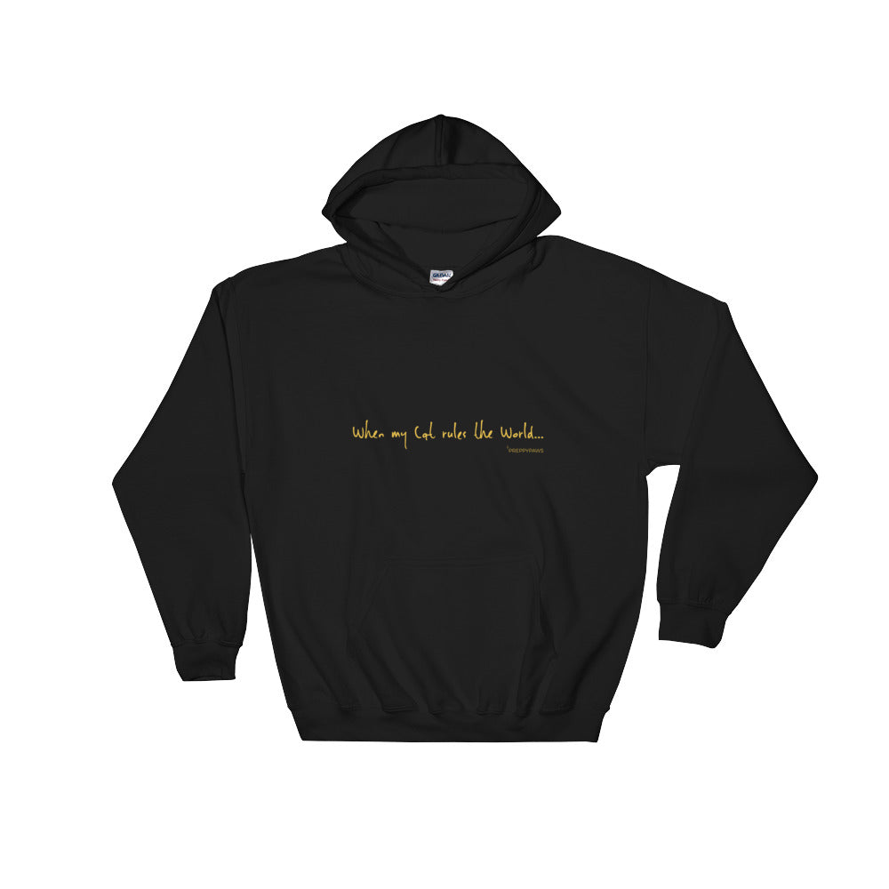 """Cat Rules the World"" Unisex Hoodie (Gold Text)"